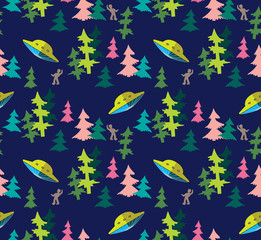 UFO in the woods vector seamless pattern