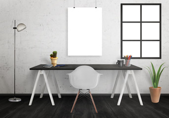 Poster mock up in office interior with desk, lamp, plants, chair. White wall with window and black floor.