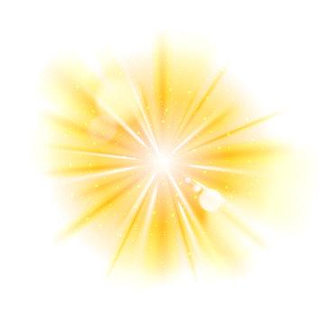 Yellow light sunburst background.