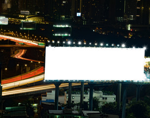blank billboard in the night time for advertisement.