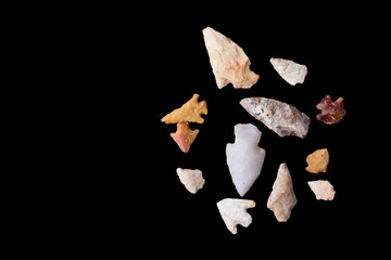 Arrowheads on Black Background
