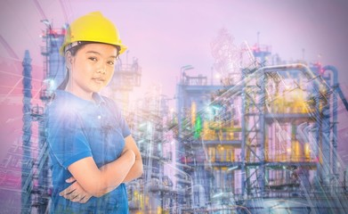 Multi exposure of young lady with refinery industrial plant