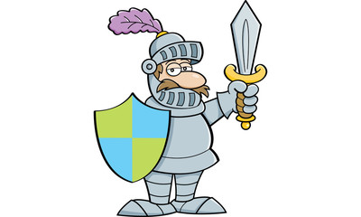 Cartoon illustration of a knight holding a sword and a shield.