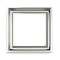 Square silver picture frame on white background. 3d rendering