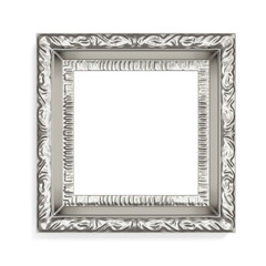 Silver photo frame with pattern on white background. 3d renderin
