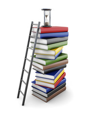 Conceptual stacks of books on a white background. 3d rendering