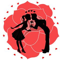 Lovers silhouette with rose and hearts vector, silhouette di innamorati con rosa e cuoricini vettoriale