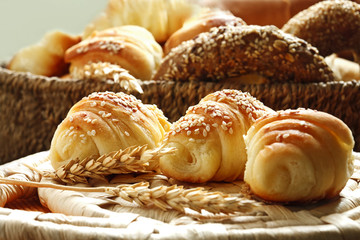 Zelfklevend Fotobehang Bakkerij croissants and various bakery products