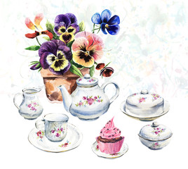 Tea Time. Porcelian and violets. Invitation to tea drinking. Watercolor hand drawn illustration.