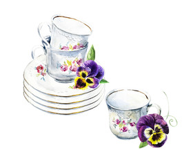 Tea Time. Teacups and violets. Invitation to tea drinking. Watercolor hand drawn illustration.