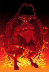 Devil in fire.