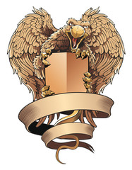 Griffon with shield and placard. Heraldic design element.