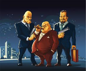 Mafia  Three men of a mafia clan arrived at the meeting for a exchange secret suitcase. - fototapety na wymiar