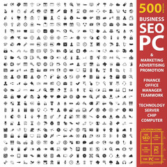Business, seo, pc set 500 black simple icons. Marketing, advertising, promotion icon design for web and mobile.