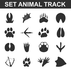 Animal tracks set 16 black simple icons. Animal print icon design for web and mobile.