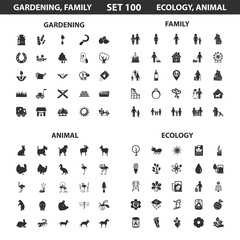 Ecology, family set 100 black simple icons. Gardening, animal icon design for web and mobile.