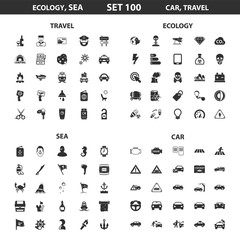 Ecology, sea set 100 black simple icons. Ocean, car icon design for web and mobile.