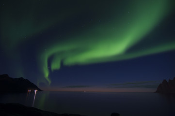 polar lights / An aurora is a natural light display in the sky, predominantly seen in the high latitude (Arctic and Antarctic) regions.