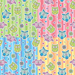 patterns of cartoon owls