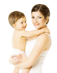 Mother And Toddler Kid, Woman Holding Child in Diaper Over White