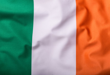 Flag of Ireland, national country symbol, wave flag.