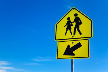 School Warning Sing with blue sky as background, Nevada, USA