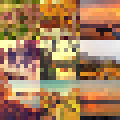 Autumn colorful abstract mosaic background template