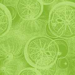 Hand drawn lime. Seamless wallpaper pattern