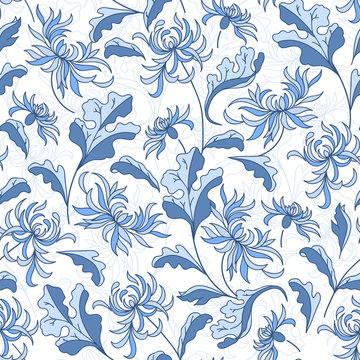 Seamless raster vintage japanese pattern with lily