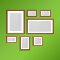Photo frames on wall. Vector vintage picture frames.