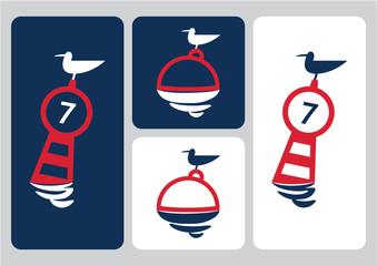 seagull on buoy vector illustration