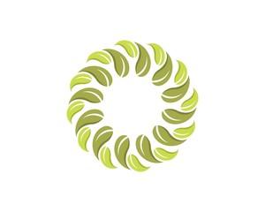 Circle Green Leaf Flower Logo 5