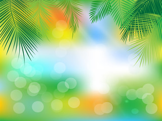 Tropical jungle background with palm leaves.