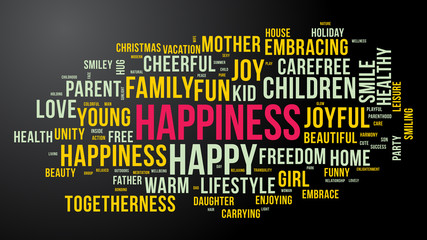 HAPPINESS word cloud. Bright and colorful tag cloud. Vector graphics illustration.