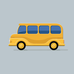 Funny school bus for your design. Flat style vector icons.