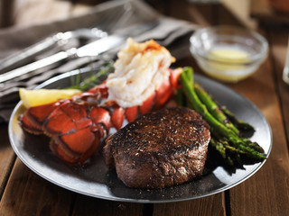 Deurstickers Steakhouse steak and lobster surf & turf gourmet dinner with asparagus
