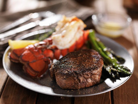 filet mignon steak and lobster tail with asparagus