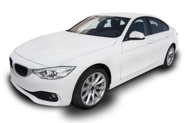 White Four Door Car Isolated on Background