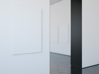 Modern bright gallery with blank frame. 3d rendering