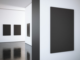 Modern bright gallery with black frames. 3d rendering
