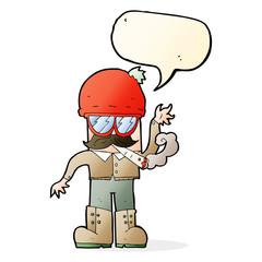 cartoon man smoking pot with speech bubble