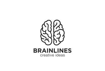 Brain Logo silhouette vector linear Brainstorm think