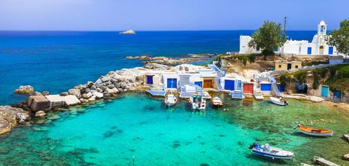 Obraz Milos - traditional village Mandrakia , beautiful islands of Gre - fototapety do salonu