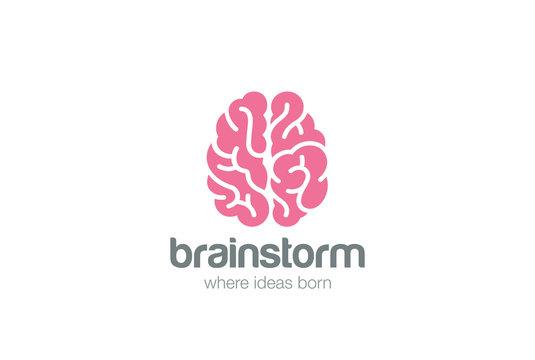Brain Logo silhouette design vector.  Brainstorm think idea