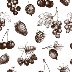 Pastel pattern with hand drawn vintage wild and garden berries. Vintage fruit and berry seamless background