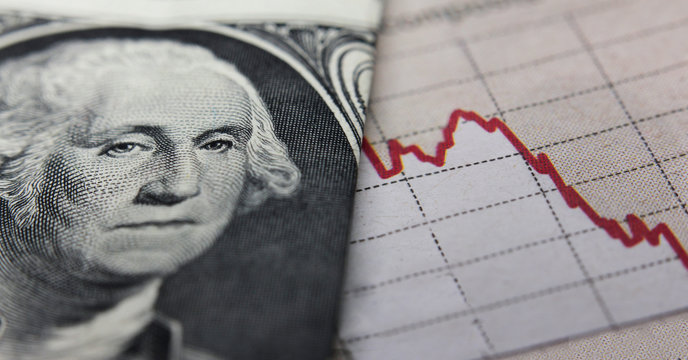 Stock Market Graph next to a 1 dollar bill (showing former president Washington). Red trend line indicates the stock market recession period
