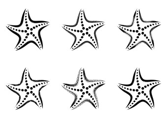 Black vector stylized starfish icons