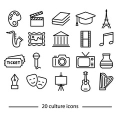 culture line icons