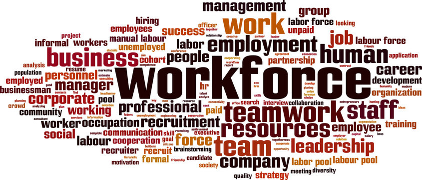 Workforce word cloud concept. Vector illustration