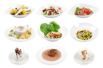 Set of 9 various dishes isolated on the white background.